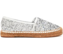 Sequined leather espadrilles
