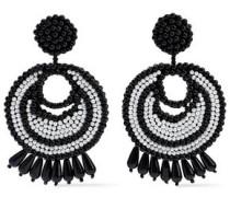 Rhodium-plated Beaded Earrings Black Size --