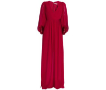 Pleated Crepe Gown Claret Size 0