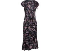 Ruched Floral-print Silk-satin Midi Dress Black Size 0