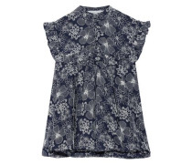 Ruffle-trimmed floral-embroidered pleated cotton-voile top