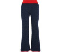 Trequenci Ribbed-knit Flared Pants Navy