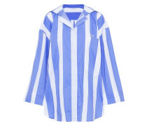 Oversized Embroidered Striped Cotton-poplin Shirt Light Blue