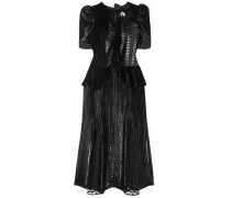 Diantha Flocked Tulle-paneled Metallic Striped Velvet Midi Dress Black
