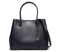 Woman Patent-trimmed Textured-leather Tote Navy