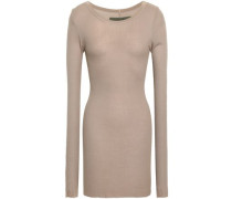 Ribbed Stretch-jersey Top Sand