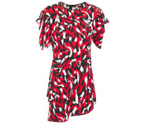 Woman Asymmetric Gathered Printed Crepe Top Red