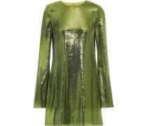 Woman Galaxy Sequined Mesh Mini Dress Lime Green