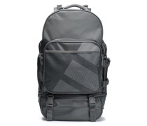 Mesh-paneled printed twill backpack