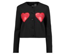 Faux leather-paneled jacquard jacket