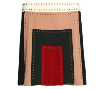 Studded color-block silk crepe de chine mini skirt