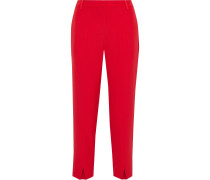 Woman Lacy Crepe Straight-leg Pants Red