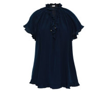 Ruffle-trimmed Silk Crepe De Chine Blouse Navy Size 0