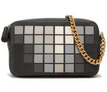 Giant Pixel appliquéd suede and leather shoulder bag
