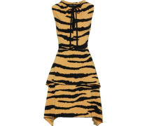 Woman Layered Tiger-print Cady Dress Pastel Orange