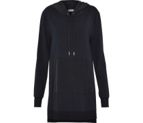 Crepe-paneled stretch-modal hooded mini dress