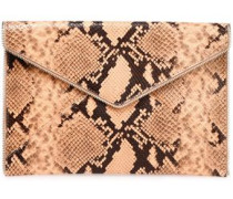 Zip-embellished Snake-effect Leather Envelope Clutch Peach Size --