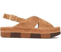 Suede platform slingback sandals