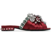 Knotted Embellished Satin Slides Merlot