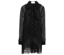 Woman Lace-trimmed Silk-chiffon Blouse Black