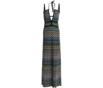 Crochet-knit cotton-blend halterneck maxi dress