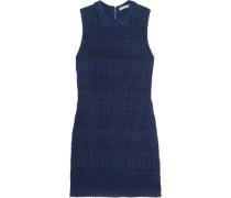 Draped broderie anglaise cotton mini dress