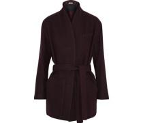 Belted wool-blend twill jacket