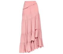 Asymmetric Ruffled Crepe Skirt Antique Rose