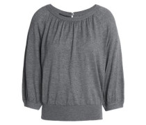 Mélange silk and cashmere-blend top