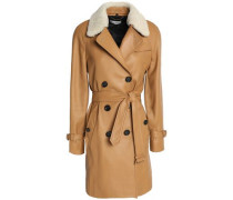 Double-breasted shearling-trimmed leather coat