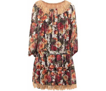 Lace-trimmed floral-print chiffon mini dress