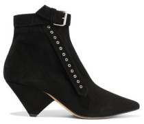 Linac Buckled Suede Ankle Boots Black