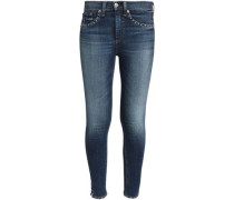 Studded Faded Mid-rise Slim-leg Jeans Mid Denim