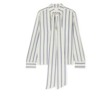 Woman Pussy-bow Striped Silk-georgette Blouse Ivory