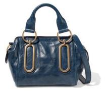 Embellished Glossed-leather Shoulder Bag Navy Size --