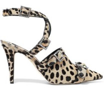 Woman Crystal-embellished Leopard-print Calf Hair Pumps Animal Print
