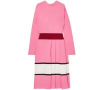 Woman Pleated Striped Crepe Midi Dress Pink