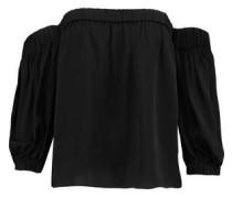 Off-the-shoulder stretch-silk top