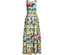 Pleated printed silk gown