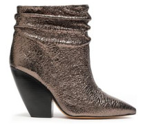 Patent Cracked-leather Ankle Boots Brass
