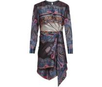 Gathered Printed Hammered Silk-satin Mini Dress Dark Purple