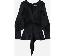 Woman Knotted Pleated Silk-satin Blouse Black