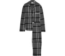 Gingham satin-trimmed fleece pajama set
