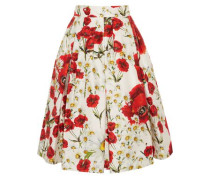 Pleated floral-print cotton and silk-blend skirt