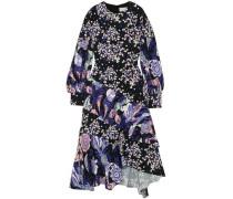 Ruffled printed silk midi dress