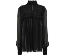 Ruffle-trimmed Shirred Tulle And Silk-chiffon Blouse Black