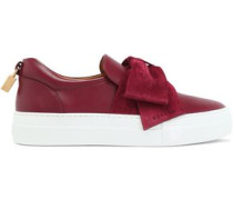 Bow-embellished satin sneakers