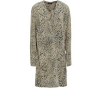 Wrap-effect Printed Washed-silk Mini Dress Army Green