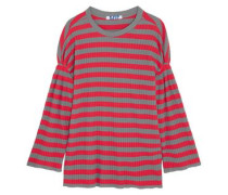 Striped Ribbed Cotton Top Tomato Red