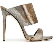 Metallic lizard-effect leather mules
